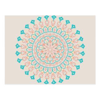 Mandala abstrait de couleurs en pastel carte postale