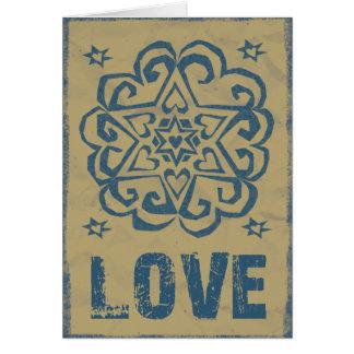 Mandala affligé d'amour d'étoiles de coeurs carte de vœux