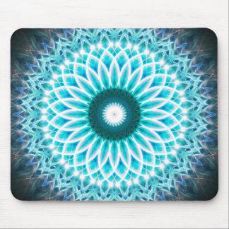 Mandala au néon de Lotus bleu Tapis De Souris