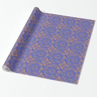 Mandala aztèque orange et bleu papier cadeau noël
