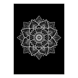 posters mandala noir et blanc mandala noir et blanc affiches art mandala no. Black Bedroom Furniture Sets. Home Design Ideas