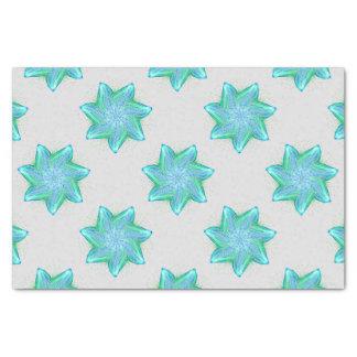 Mandala bleu au néon d'étoiles de mer papier mousseline