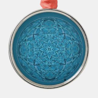 Mandala bleu tiré par la main fait sur commande ornement rond argenté
