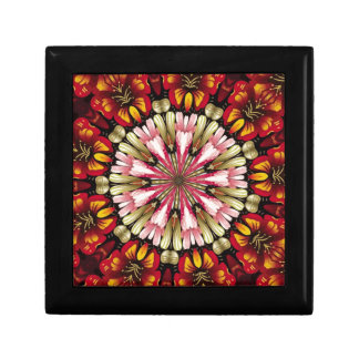 Mandala botanique de rêves petite boîte à bijoux carrée