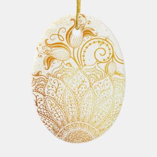 Mandala - brosse d'or ornement ovale en céramique