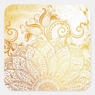 Mandala - brosse d'or sticker carré