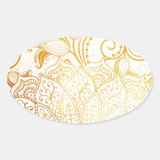 Mandala - brosse d'or sticker ovale