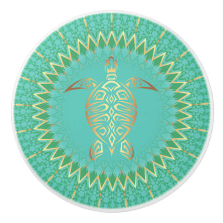 Mandala d'animal de tortue d'or de turquoise