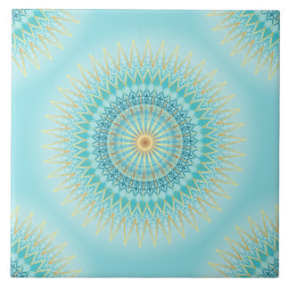 Mandala de Boho d'or de turquoise Carreau