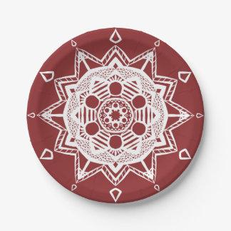 Mandala de canneberge assiettes en papier