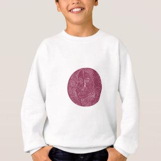 Mandala de cercle de visage de dame âgée sweatshirt