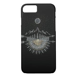 Mandala de chaîne de montagne de lune et de ciel coque iPhone 8/7