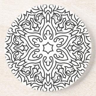 Mandala de concepteurs noir et blanc dessous de verres