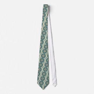Mandala de fleur blanche et de bleu Cerulean Cravates