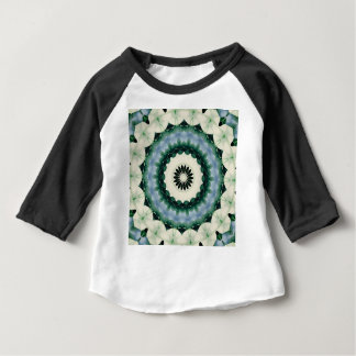 Mandala de fleur blanche et de bleu Cerulean T-shirt Pour Bébé