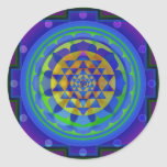Mandala de l'OM (AUM) Yantra Autocollants Ronds
