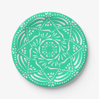 Mandala de menthe assiettes en papier