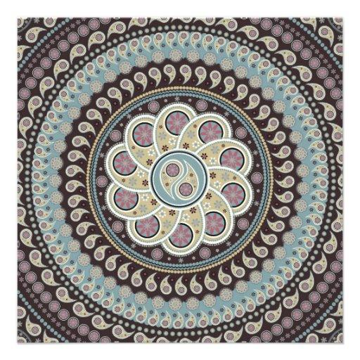Mandala de paisley invitation d 39 anniversaire carton d - Mandala anniversaire ...