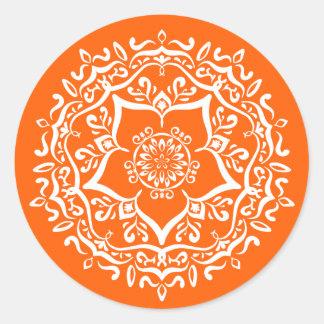 Mandala de pavot sticker rond