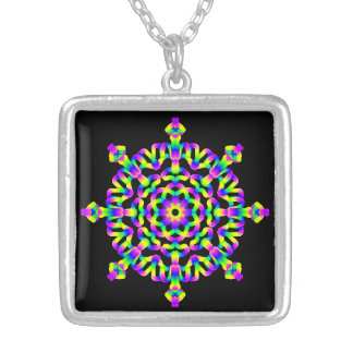 Mandala de Vibe de hippie psychédélique Pendentif Carré