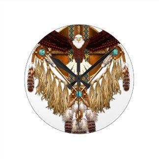 Mandala d'Eagle chauve - révisé Horloge Ronde