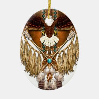 Mandala d'Eagle chauve - révisé Ornement Ovale En Céramique