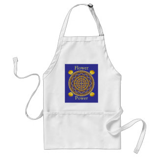 Mandala d'or de pavots avec le slogan de flower po tablier