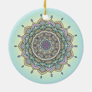 Mandala en pastel ID359 de lueur Ornement Rond En Céramique