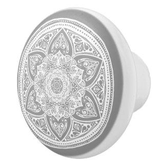 Mandala en pierre bouton de porte en céramique