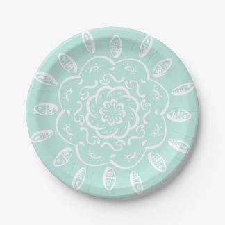 Mandala en verre de mer assiettes en papier