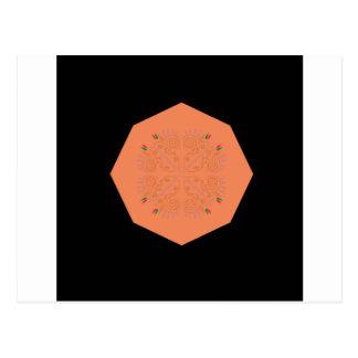 Mandala Ethno folklorique orange Carte Postale