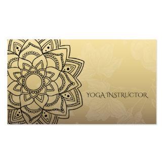 Mandala floral de YOGA d'instructeur d'or élégant Carte De Visite Standard