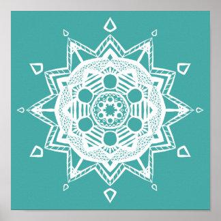 Mandala impeccable bleu poster