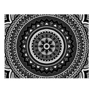 Mandala noir et blanc carte postale