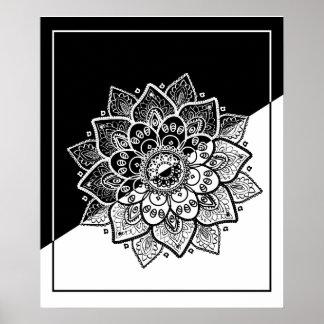 Mandala noir et blanc géométrique moderne posters