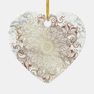 Mandala - or et marbre ornement cœur en céramique