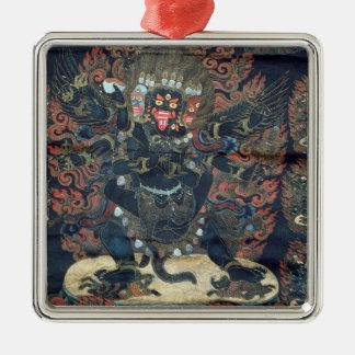 Mandala (parchemin peint) ornement carré argenté
