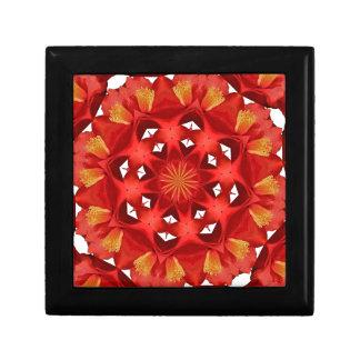 Mandala rouge de camélia boîte à souvenirs