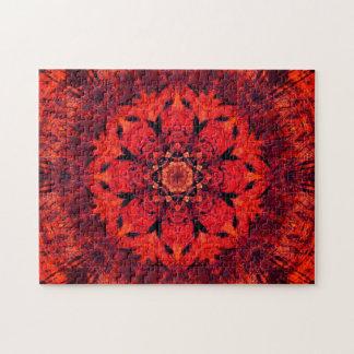 Mandala rouge de fleur de Lotus Puzzles