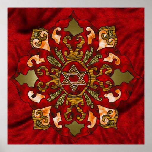Mandala rouge de Hanoukka Posters
