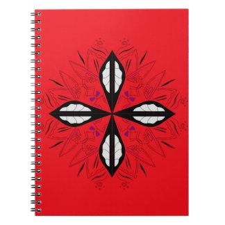 Mandala rouge de luxe d'ornement carnet