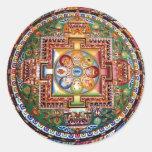 Mandala Tantric tibétain vintage de bouddhisme Adhésifs Ronds