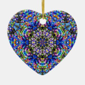 Mandala taré de ballons ornement cœur en céramique