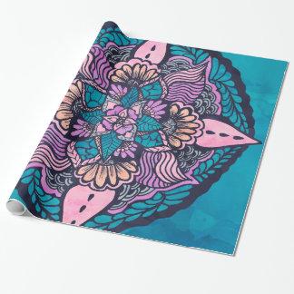 Mandala tiré par la main d'aquarelle florale de papiers cadeaux