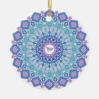 Mandala tribal de Manta sur le blanc Ornement Rond En Céramique