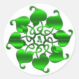 mandala. vert de feuille de cercle sticker rond