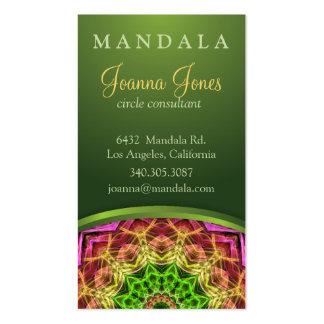 Mandala vert de fleur cartes de visite professionnelles