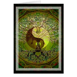 Mandala vert de Yin Yang avec l'arbre de la vie Carte De Vœux