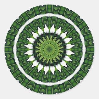 Mandala vert tropical sticker rond