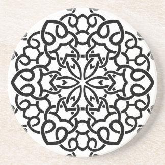 Mandala vintage de concepteurs : blanc noir dessous de verre